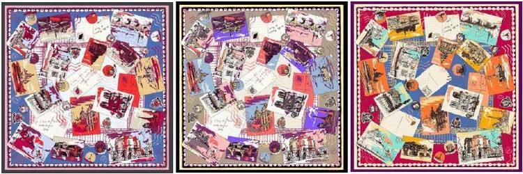 marseille-carre-de-soie-ines-de-la-fressange-je-t-ecris-de-paris-bleu-gris-rouge90X90