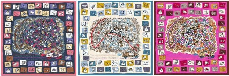 marseille-chales-grand-carre-etamine-de-laine-ines-de-la-fressange-mon-petit-loto-de-paris-136X136-gris-beige-fuschia