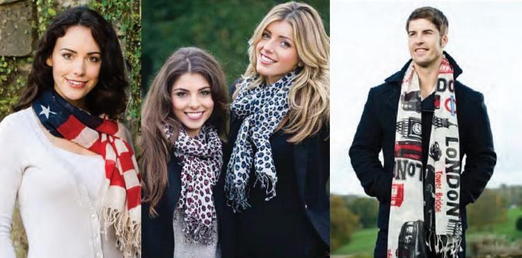 foulards imprimés en étamine de laine