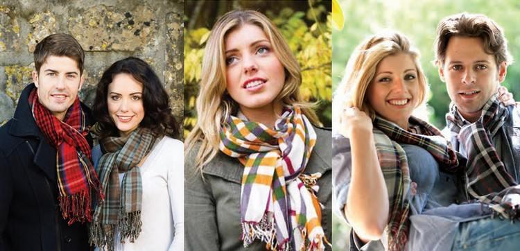 foulards à motifs tartans en étamine de laine