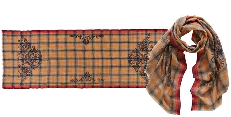 Foulards de la marque Inouitoosh 2014, motifs arabesques et carreaux.