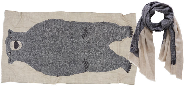 Foulards Inouitoosh 2014, l'ours Teddy, en cachemire et soie.