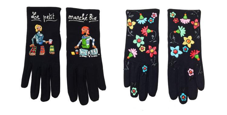 """Gants fantaisie de la marque """"Quand les poules auront des gants"""", collection 2014, sur le thème du petit marché bio et des fleurs."""