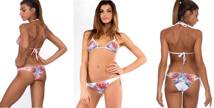 Maillots de bain été 2015 Pin UP Stars, imprimé Fleurs de coquelicots et marguerites, soutien gorge triangle et culotte bikini.