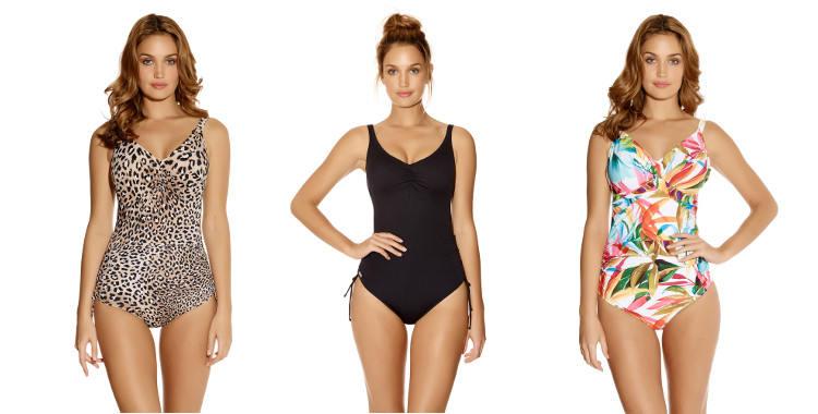 Maillots de bain grandes tailles de la marque Fantasie, modéle imprimé léopard Caya, noir Versailles, imprimé fleurs Bocachica.