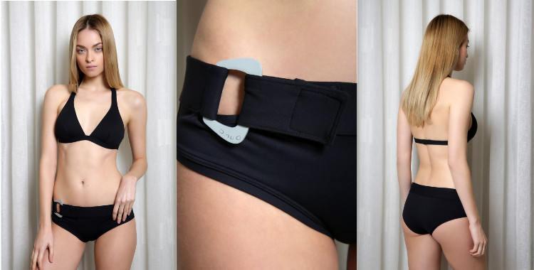 Maillots Dnud, collection 2015, modèle Bond, deux pieces, soutien gorge triangle, culotte avec une boucle de ceinturon.