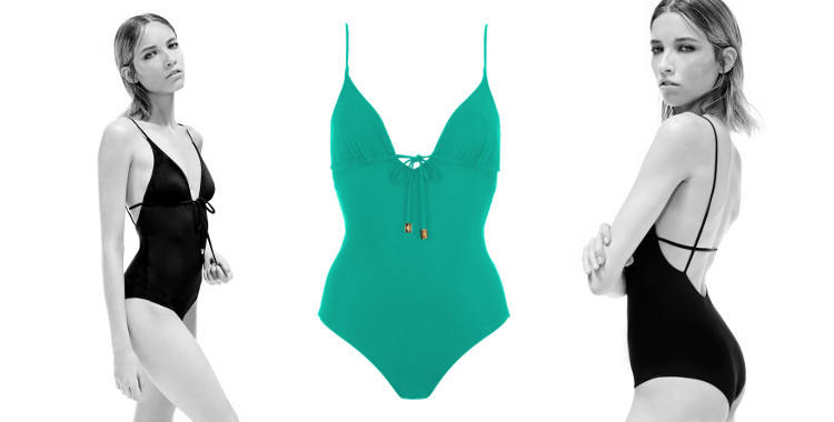 Maillot une pièce, collection Thapelo 2015, décolleté V avec cordons et bijoux, décolleté dos graphique, en coloris turquoise.