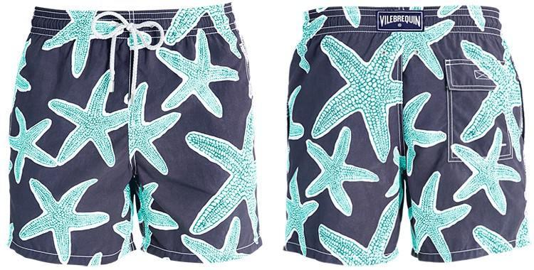 Short de bain pour hommes de la marque Vilebrequin, modèle Moorea, Imprimé Les étoiles de mer.