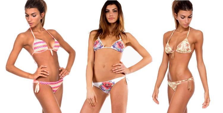 Maillots bikinis de la marque Pin Up Stars, collection été 2015, modèles Jacquard, Fleurs et Savane.