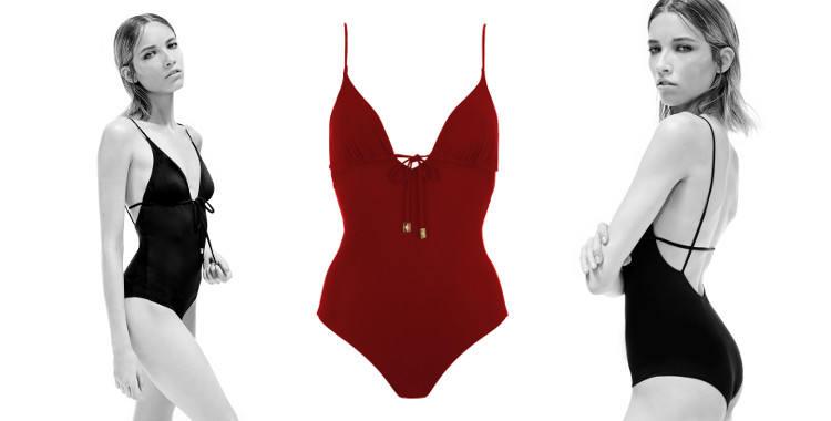 Maillot une pièce, collection Thapelo 2015, décolleté V avec cordons et bijoux, décolleté dos graphique, en coloris rouge.