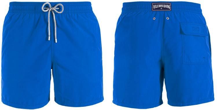 Shorts de bain pour hommes de la marque Vilebrequin, modèle Moorea, coloris uni bleu.
