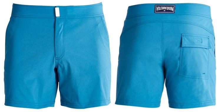 Short de bain pour hommes de la marque Vilebrequin, modèle Merise, uni bleu.