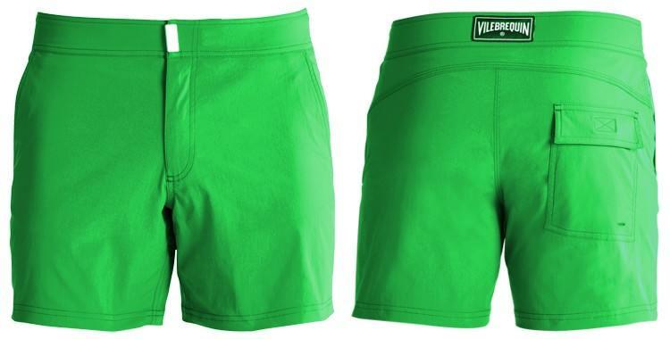 Short de bain pour hommes de la marque Vilebrequin, modèle Merise, uni vert.