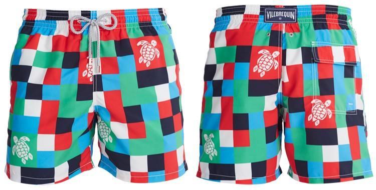 Shorts de bain pour hommes de la marque Vilebrequin, modèle Moorea, Imprimé Les carreaux et les tortues.