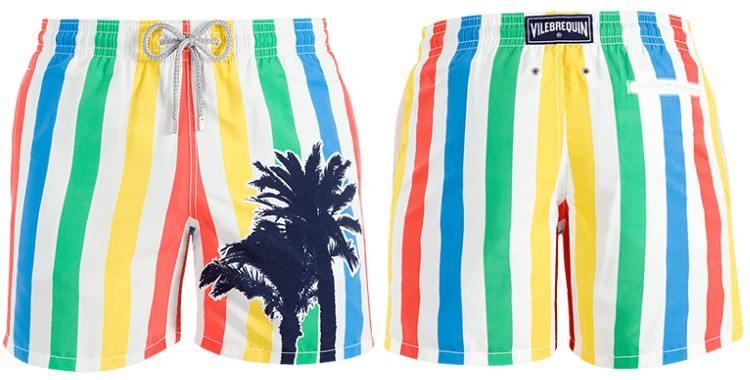 Short de bain pour hommes de la marque Vilebrequin, modèle Moorea, Imprimé Les Rayures et les Palmiers.