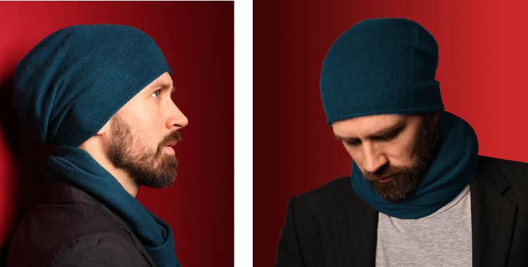 Bonnets et écharpes de la marque About Accessories, collection 2015, en cachemire, dimensions 25 cm x 160 cm, coloris bleu canard.