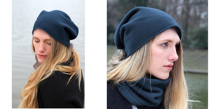 Bonnets et écharpes de la marque About Accessories, collection 2015, en cachemire, dimensions 25 cm x 160 cm, coloris bleu.