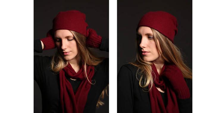 Bonnets et écharpes de la marque About Accessories, collection 2015, en cachemire, dimensions 25 cm x 160 cm, coloris bordeaux.