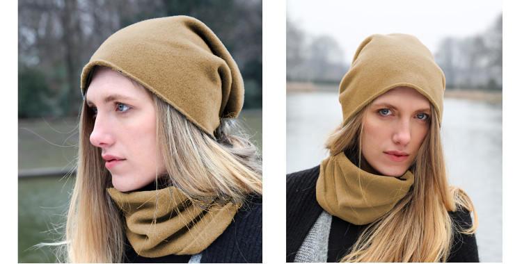 Bonnets et écharpes de la marque About Accessories, collection 2015, en cachemire, dimensions 25 cm x 160 cm, coloris camel.