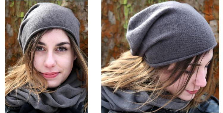 Bonnets et écharpes de la marque About Accessories, collection 2015, en cachemire, dimensions 25 cm x 160 cm, coloris gris.