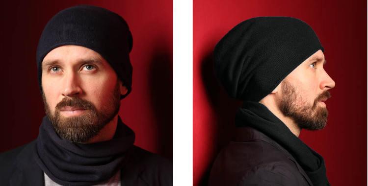 Bonnets et écharpes de la marque About Accessories, collection 2015, en cachemire, dimensions 25 cm x 160 cm, coloris noir.