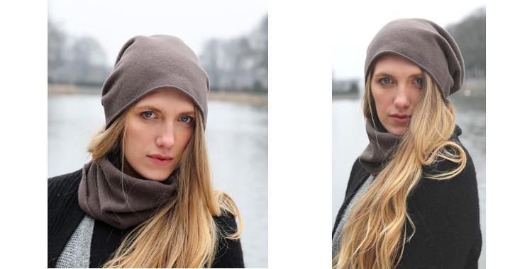 Bonnets et écharpes de la marque About Accessories, 2015, en cachemire, dimensions 25 cm x 160 cm, coloris taupe.