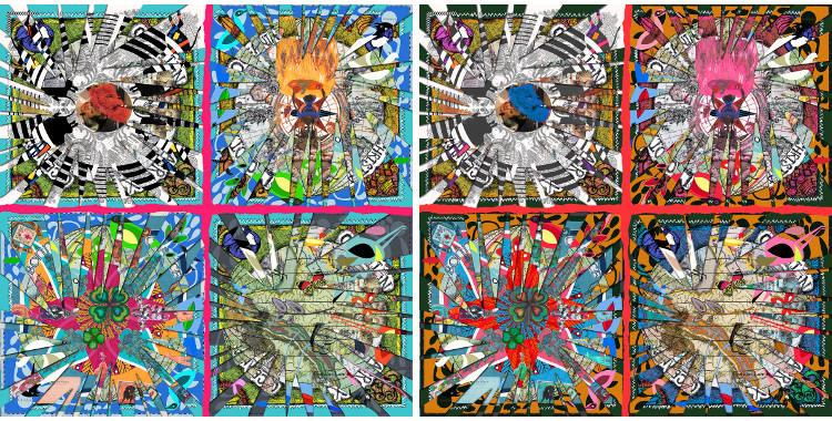 """Châles Christian Lacroix 2015, thème """"Reflection"""", en bleu et en rouge."""