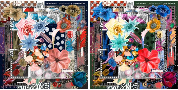 Châles Christian Lacroix 2015, thème les fleurs du Pays d'Arles et de la Camargue, en rose et en rouge.