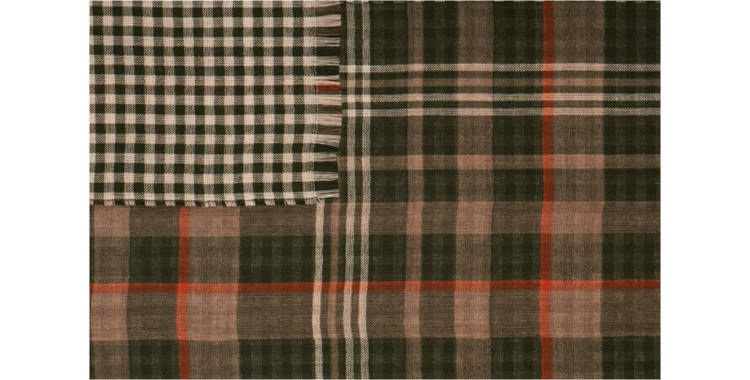 écharpes de la maison Glen Prince, collection 2015, en laine mérinos, motifs tweed et damiers, en coloris vert.