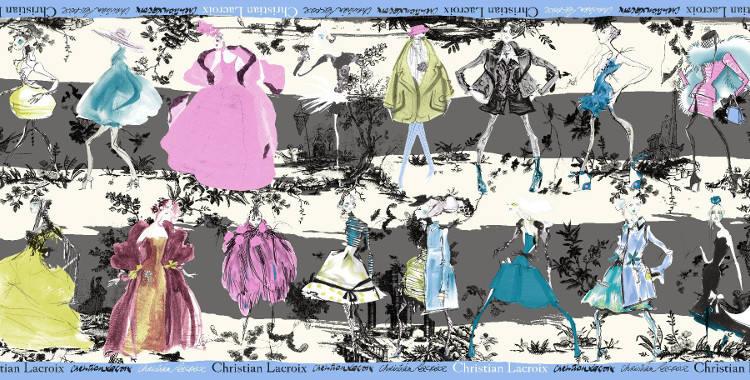 Étoles Christian Lacroix 2015, thème les Défilés de mode, en gris.