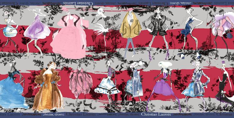 Étoles Christian Lacroix 2015, thème les Défilés de mode, en magenta.
