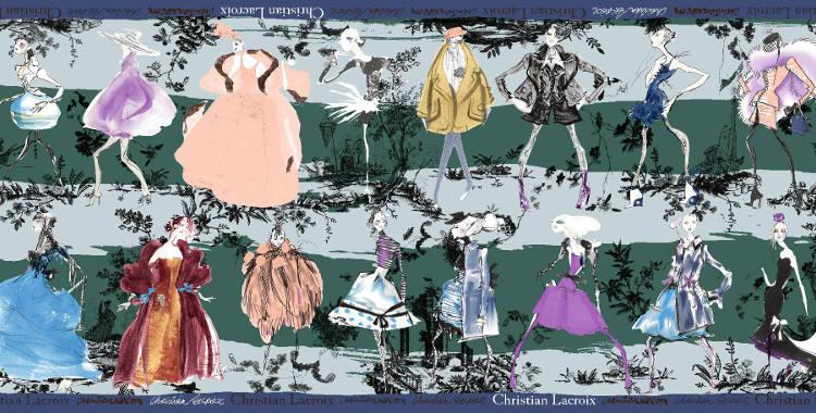 Étoles Christian Lacroix 2015, thème les Défilés de mode, en vert.