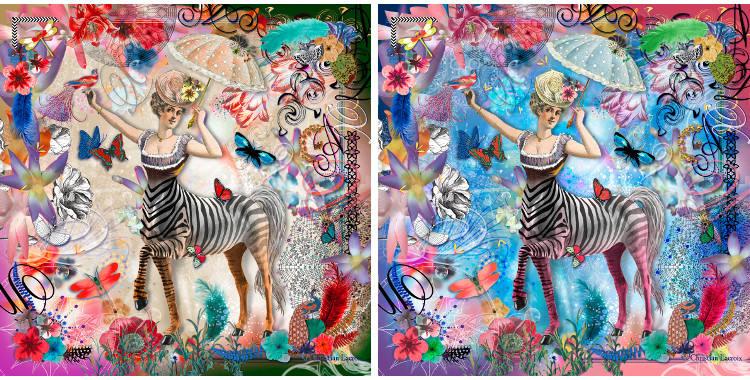 Carrés de soie Christian Lacroix 2015, thème la femme centaure, en naturel et en bleu.