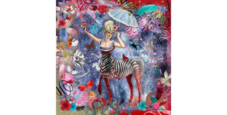Carrés de soie Christian Lacroix 2015, thème la femme centaure, en violet.
