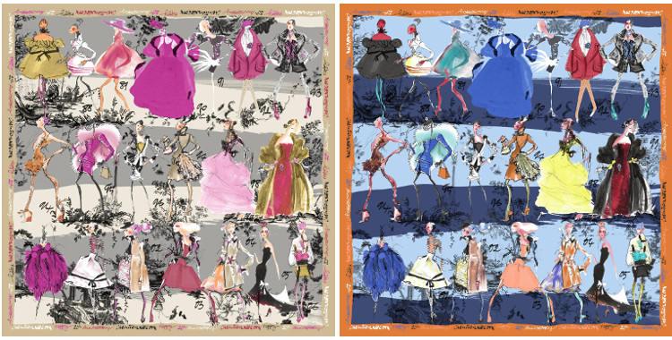 Carrés de soie Christian Lacroix 2015, thème les Défilés de mode, en gris et en bleu.