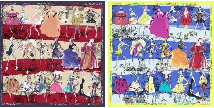 Carrés de soie Christian Lacroix 2015, thème les Défilés de mode, en rouge et en bleu.