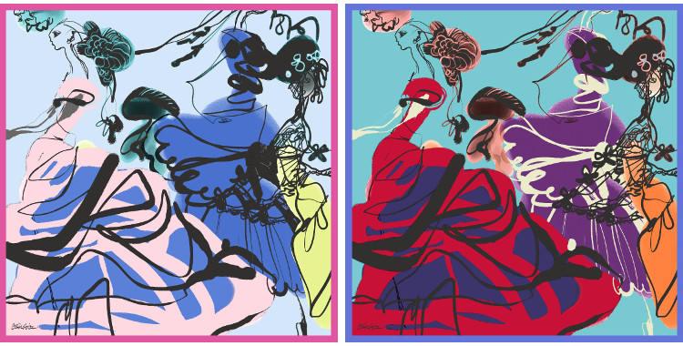 Carrés de soie Christian Lacroix 2015, thème les figurines, en rose et en rouge.