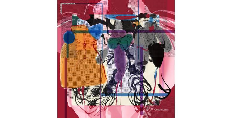 Carrés de soie Christian Lacroix 2015, thème des mannequin, en rouge bordeaux.