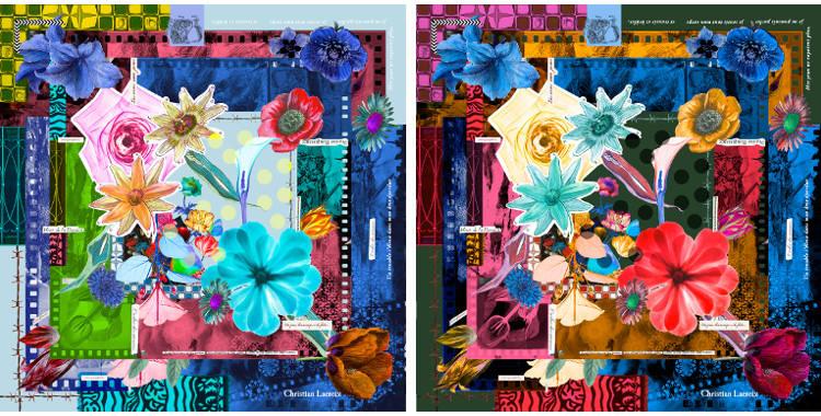 Carrés de soie Christian Lacroix 2015, thème Romancero, en bleu et en rouge.