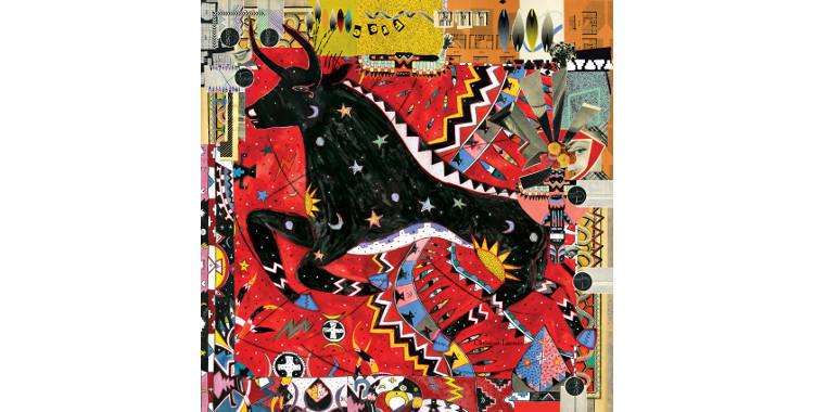 Carrés de soie Christian Lacroix 2015, thème du taureau, Free Bull, en rouge.