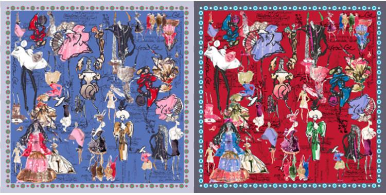 Carrés de soie Christian Lacroix 2015, thème les croquis des défilés de mode, en bleu et en rouge.