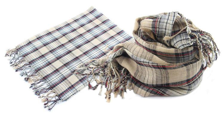 Foulards en étamine de laine, motifs à carreaux écossais, coloris beige, dimensions 180 cm x 70 cm.