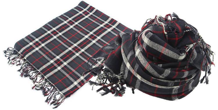 Foulards en étamine de laine, motifs à carreaux écossais, coloris noir, dimensions 180 cm x 70 cm.