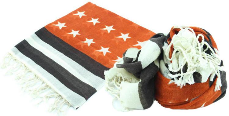 Foulards en étamine de laine, motifs stars and stripes, drapeau United States, coloris orange, dimensions 180 cm x 70 cm.