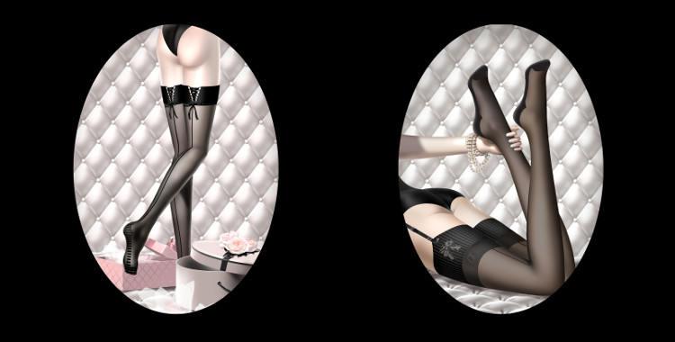 Bas Chantal Thomass, collection 2015, bas jarrettière stay up avec laçage et couture à l'arrière de la jambe (droite), bas jarrettière avec couture à l'arrière de la jambe (gauche).