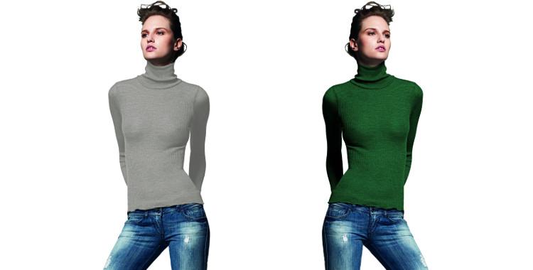 Pull col roulé, plissé côtelé, en laine et soie, collection Lisanza 2015, en coloris gris et vert.