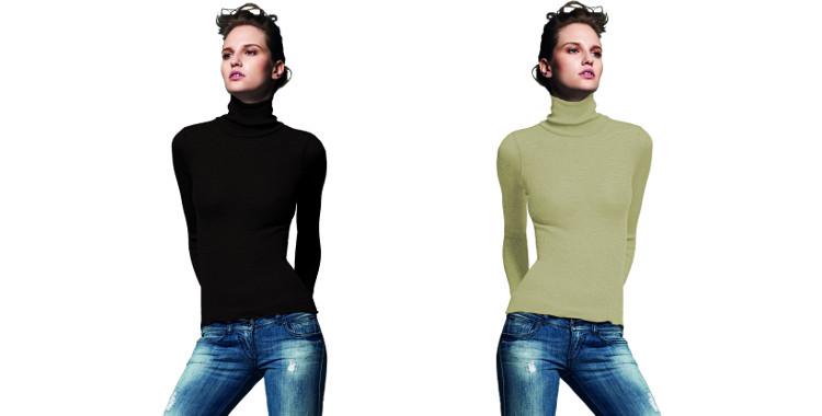 Pull col roulé, plissé côtelé, en laine et soie, collection Lisanza 2015, en coloris noir et ficelle.