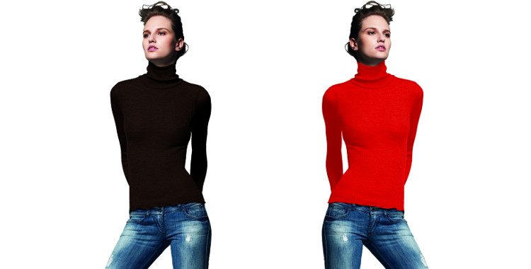 Pull col roulé, plissé côtelé, en laine et soie, collection Lisanza 2015, en coloris marron et rouge.