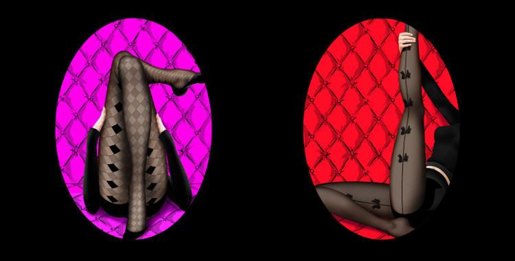 Collants Chantal Thomass 2015, collants à motifs écossais losanges opaques (gauche), collants avec baguette à l'arrière de la jambe et nœuds en jacquard (droite).