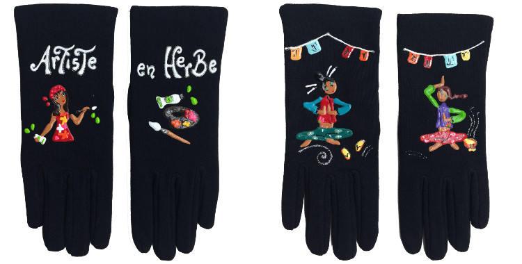 Gants taille unique, en tissu noir de la maison Quand les poules auront des gants, collection 2015, décorés d'une artiste peintre à.